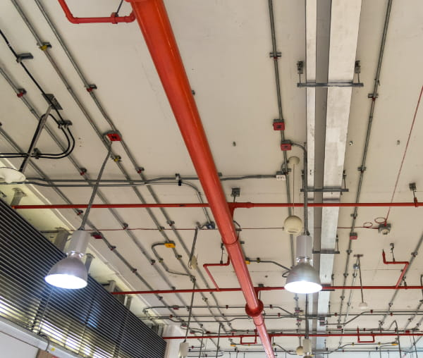 ceiling structure with pipes